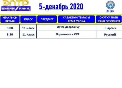 РАСПИСАНИЕ ВИДЕО УРОКОВ НА 30.11.2020 - 05.12.2020 ПО ЭЛ ТР